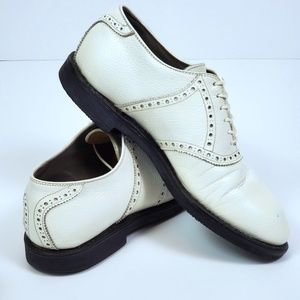 Vintage Footjoy White Pebble Leather Golf Shoes